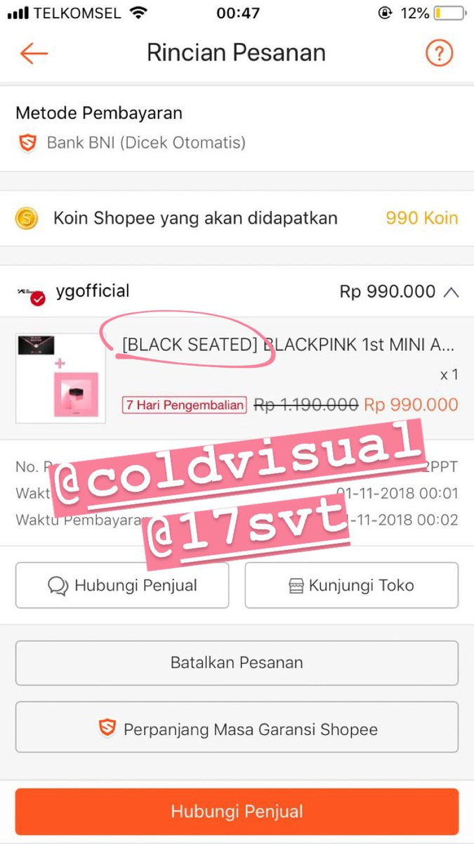 [PLEASE HELP RT]   WTS Shopee x Blackpink Black Seated  Rp 1.000.000 (TICKET ONLY)  DM if youre interested! x