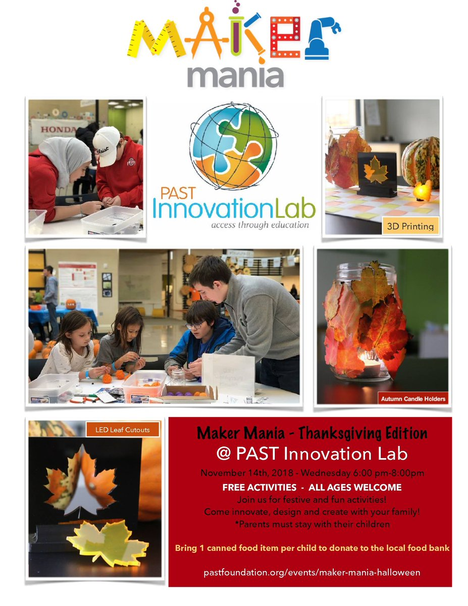 The Past Foundation On Twitter Join Us November 14th From 6 8pm At The Past Innovation Lab For An Evening Of Fall Themed Stem Activities For Kids Of All Ages Thank You To Honda