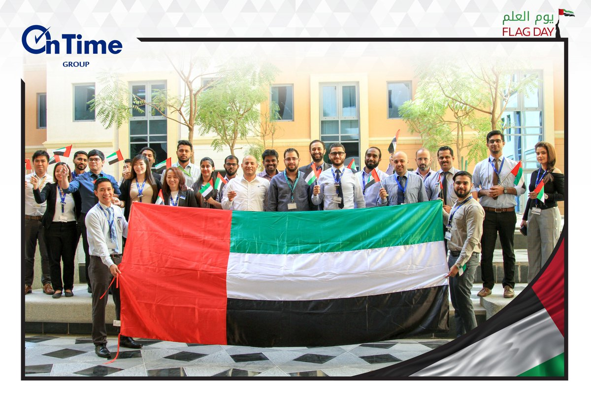OnTime Family proudly gathered to #celebrate the #UAE Flag Day, a day to celebrate our #unity, our #love for our #country, our #dreams for a better #future.   #UAEFlagDay #يوم_العلم #FlagDay #UAE #Mydubai #IloveUAE #Dubai #Emarati https://t.co/tJ88uLmbuO