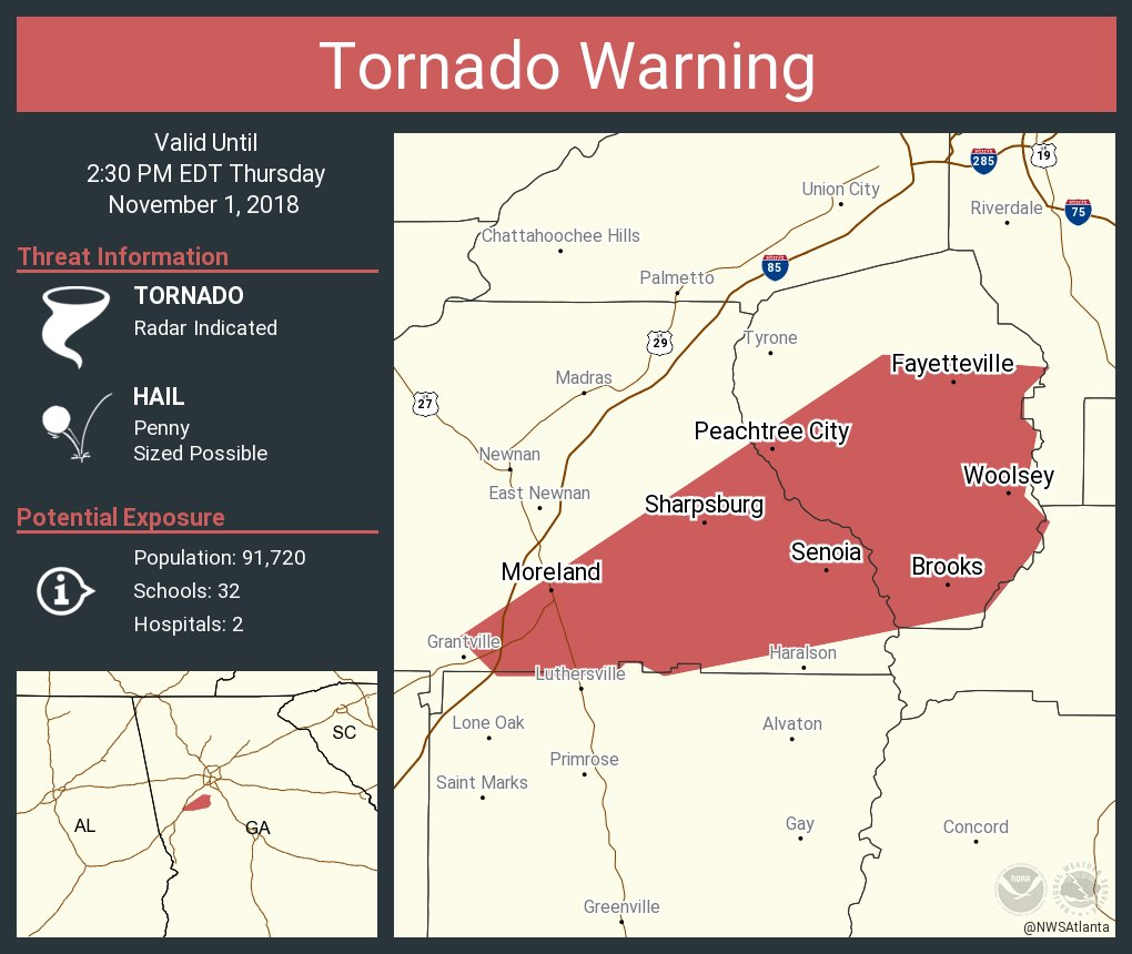 Nws Atlanta On Twitter Tornado Warning Including Peachtree City Ga