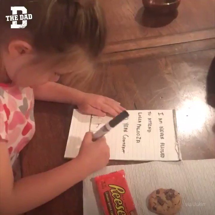 The Dad - daughter(娘) signs 30-year contract agreeing to never attend Lollapalooza in exchange for a pack of Reese's Peanut Butter Cups and a cookie.