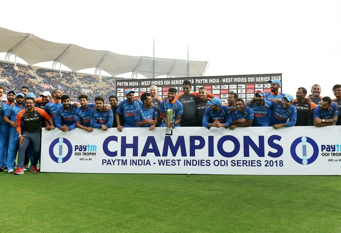 Great effort by the boys to win the series. So proud to be a part of this dedicated side! ✌️ #INDvWi