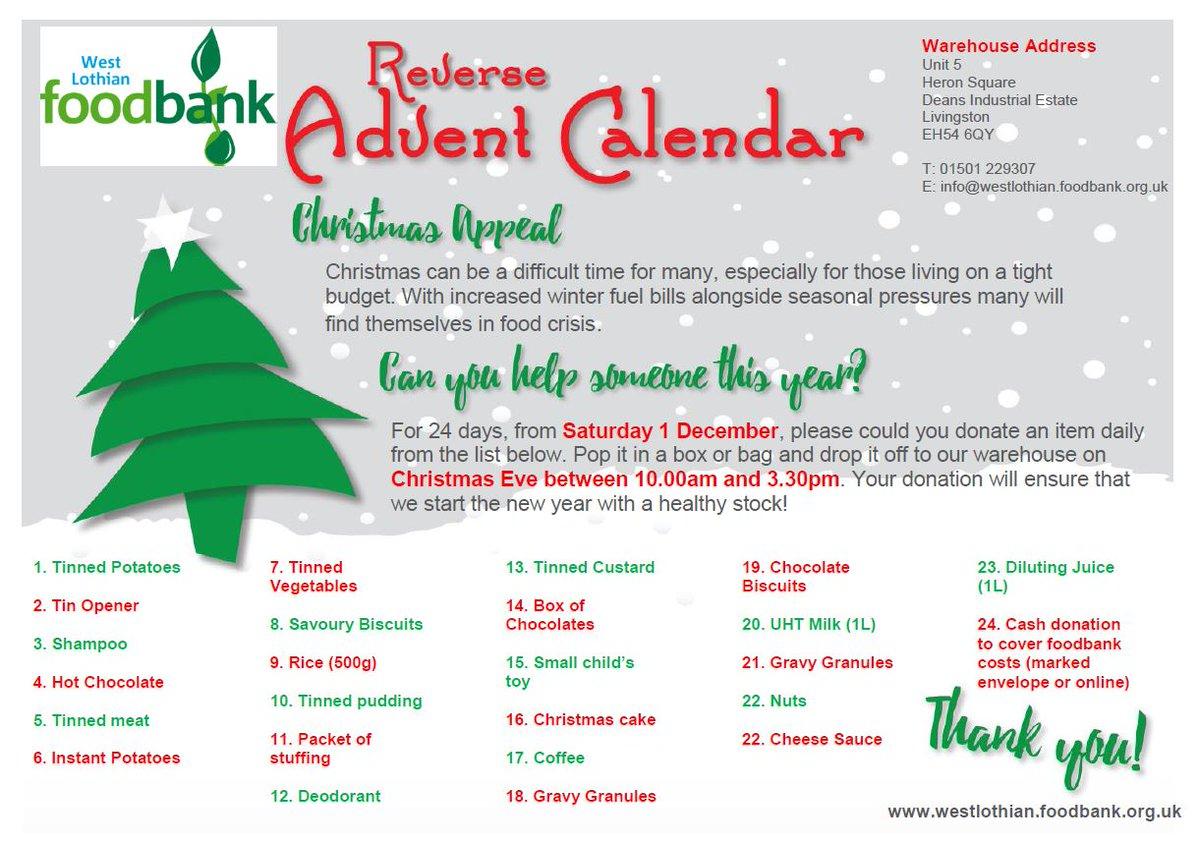 West Lothian Foodbank On Twitter Christmas Appeal 2018