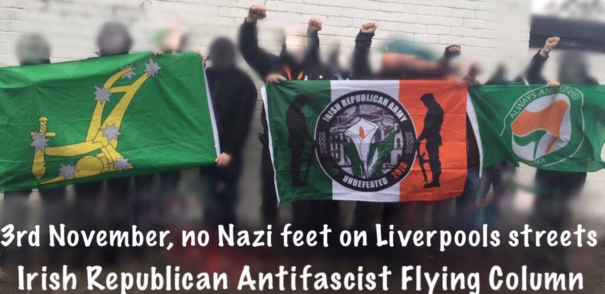We will be joining the #IrishRepublican #AntiFascist #FlyingColumn this Saturday 3rd November 2018, in #Liverpool. We are clear the  #FrontLinePatriots #WillNotPass into the city #NoPasaran #AFA #TheReds #Squads #AntiFa https://t.co/2xmSPKTLyg