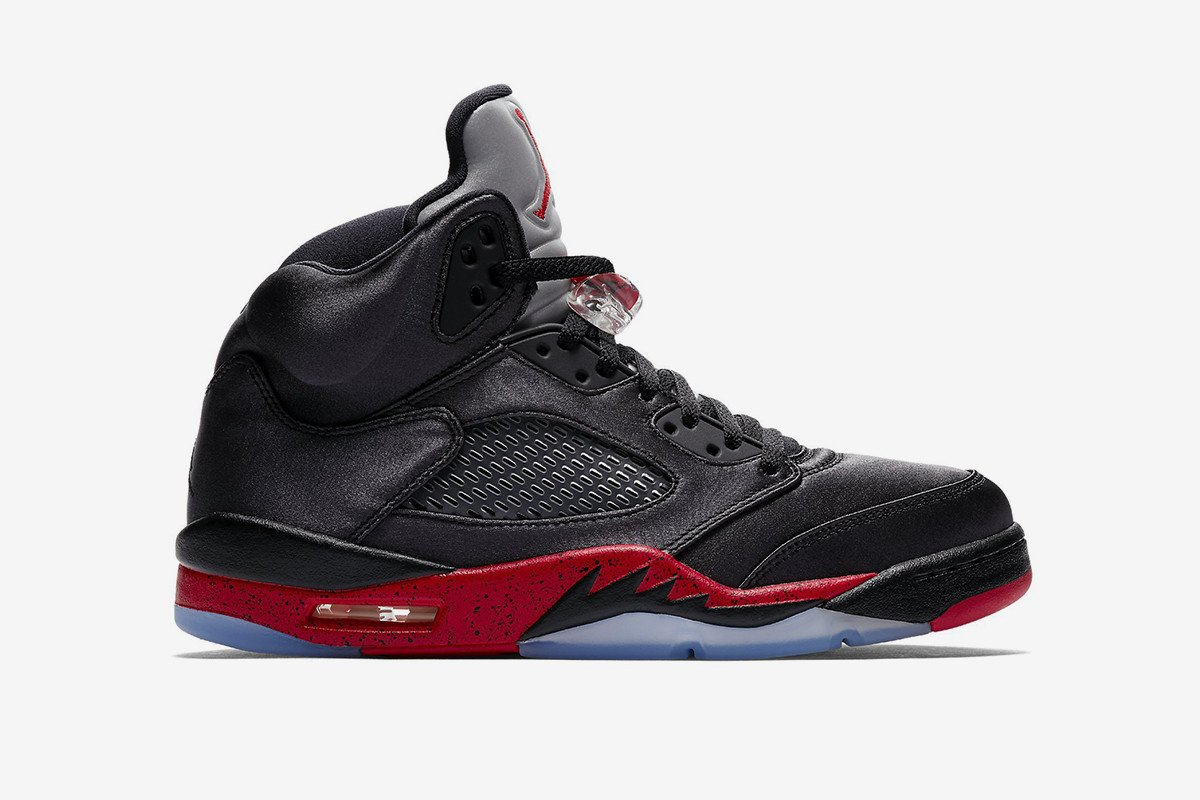 """You can already cop the satin Air Jordan 5 """"Bred"""" for retail value at 29eb56c892cb"""