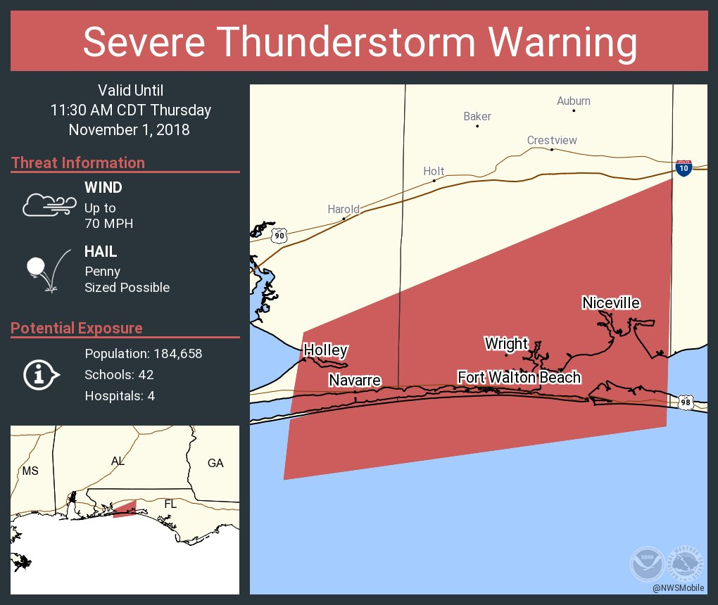 Navarre Beach Florida Map.Nws Mobile On Twitter Severe Thunderstorm Warning Including