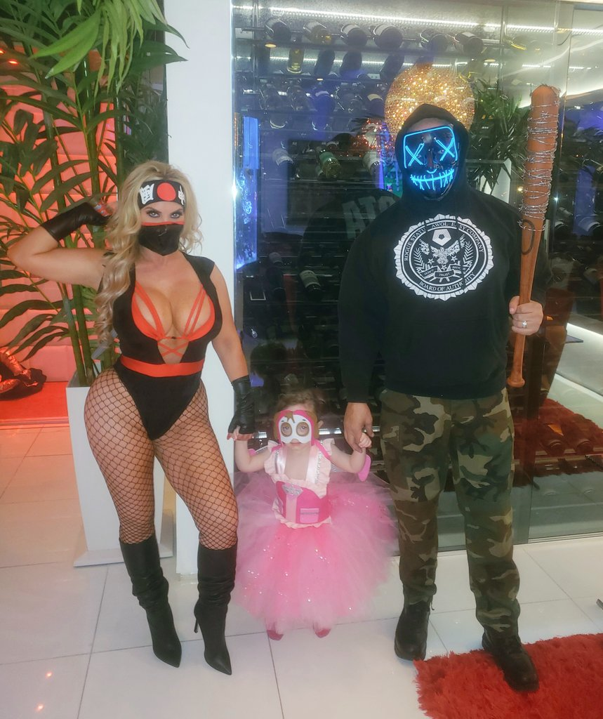 Halloween in the 'Ice House'..... The Ninja, Skye from @pawpatrol and the Purge crazy guy act as a great team