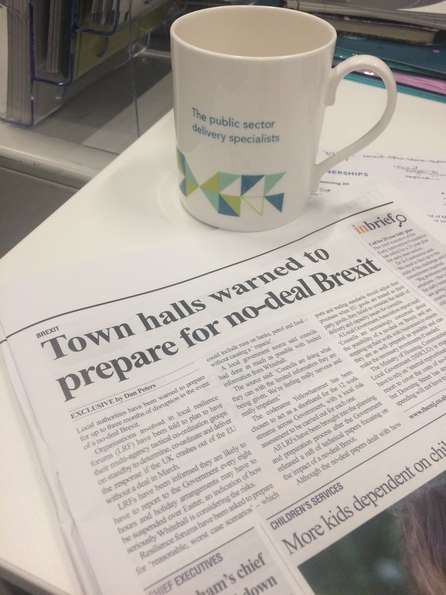 "Enjoying a cuppa and today's ⁦@themjcouk⁩ - ""Town halls warned to prepare for no-deal Brexit"". We've formulated a free toolkit to assess the impact of Brexit on council contract and procurement - view it here: https://t.co/tNOQT1KBx9"
