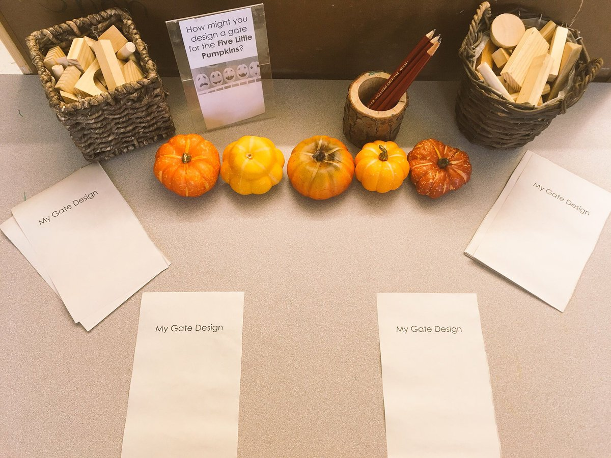 Kindergarten In Room 120 On Twitter Our Shared Reading Of Five Little Pumpkins And Stem Challenge This Week How Might You Design A Gate For The Five Little Pumpkins Planning Designing Creating