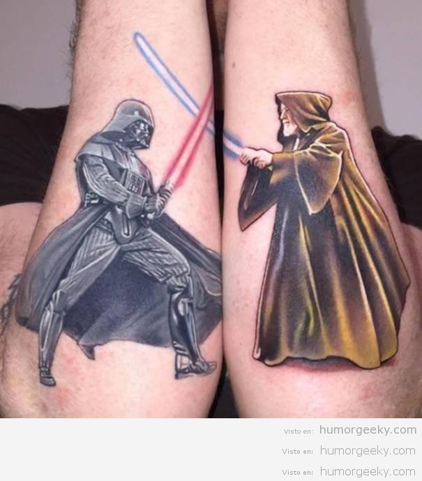 #Geek 🤓 Awesome of the Day: #StarWars #Lightsaber Duel #DarthVader V. #ObiWanKenobi Forearm #Tattoo via @humorgeeky #SamaTattoo #SamaGeek