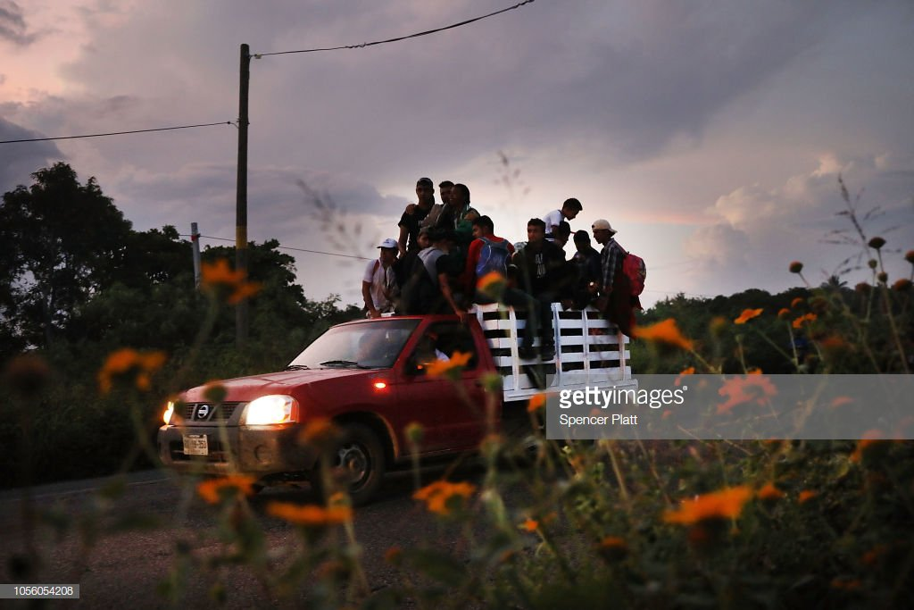 Members of the Central American caravan continue their march toward the United States as the Pentagon prepares to deploy up to 5,000 active-duty troops to the U.S.-Mexico border. 📷: @spencerplatt1