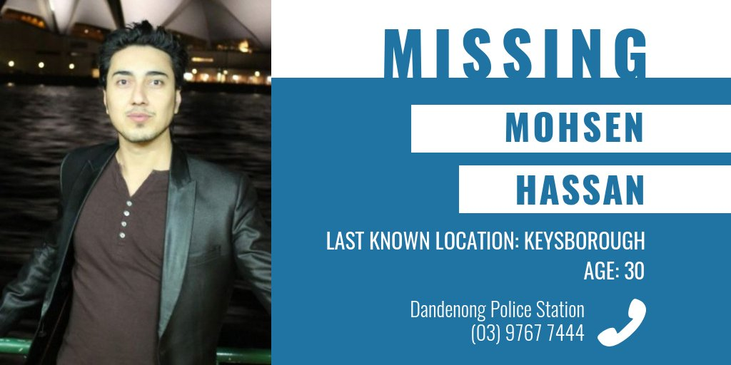 Have you seen Mohsen Hassan? Police and family have concerns for his welfare due to the length of time he has been missing. More details → https://t.co/iqIEXq9uEK