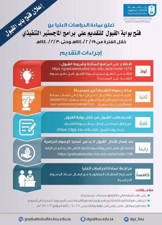 جامعة الملك سعود No Twitter فتح بوابة القبول للتقديم على برامج الماجستير التنفيذي يوم الأحد 19 2 1440 هـ Https T Co Cfc9nptrer جامعة الملك سعود Https T Co Lukgpqbpta