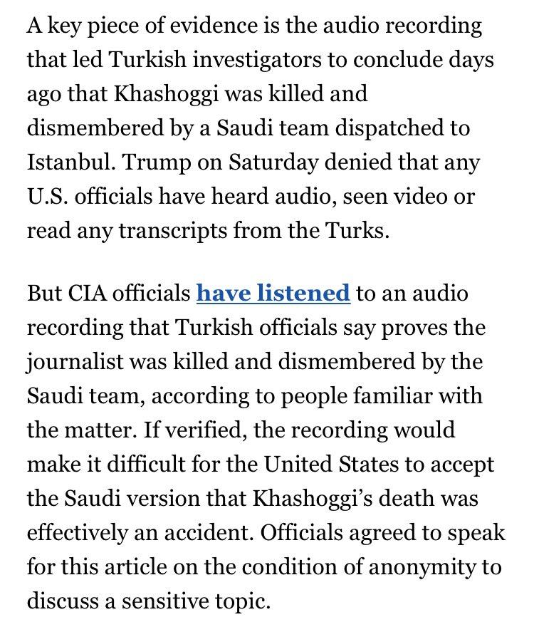 TRUMP: No U.S. official has listened to the audio of Khashoggi's murder  REALITY: U.S. officials have listened to the audio of Khashoggi's murder
