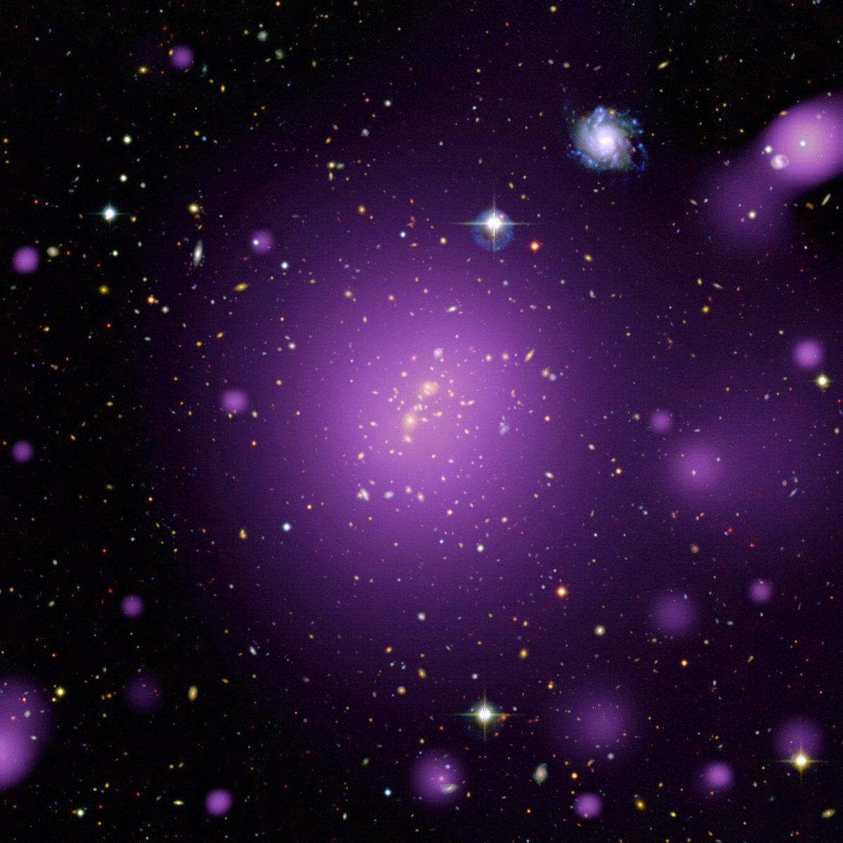 So. Much. Purple. This massive cluster of galaxies emits hot gases that glow purple in x-ray light. Called XLSSC006, the cluster contains hundreds of galaxies and dark matter, so much so that everything in it adds up to around 500 trillion solar masses. https://t.co/GV6oSbY74I