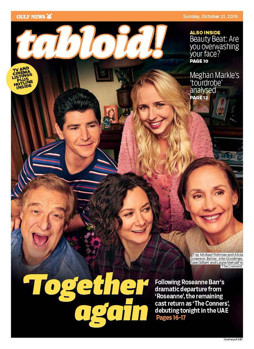Its lead star might have left in dramatic fashion, but the cast of #Roseanne are moving on with a new show, #TheConners, debuting tonight in the UAE. Don't miss our feature in today's issue and here:  https://t.co/hZr2zVFPZz #TabloidCover