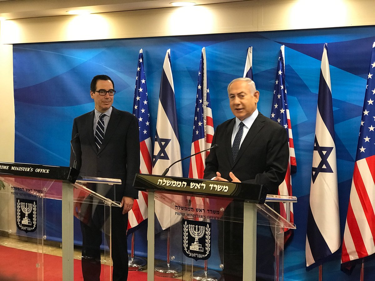 """We have the same mind, we have same heart,"" Israeli PM Netanyahu says before meeting with ⁦@stevenmnuchin1⁩ in Jerusalem to discuss ramping up pressure on Iran."