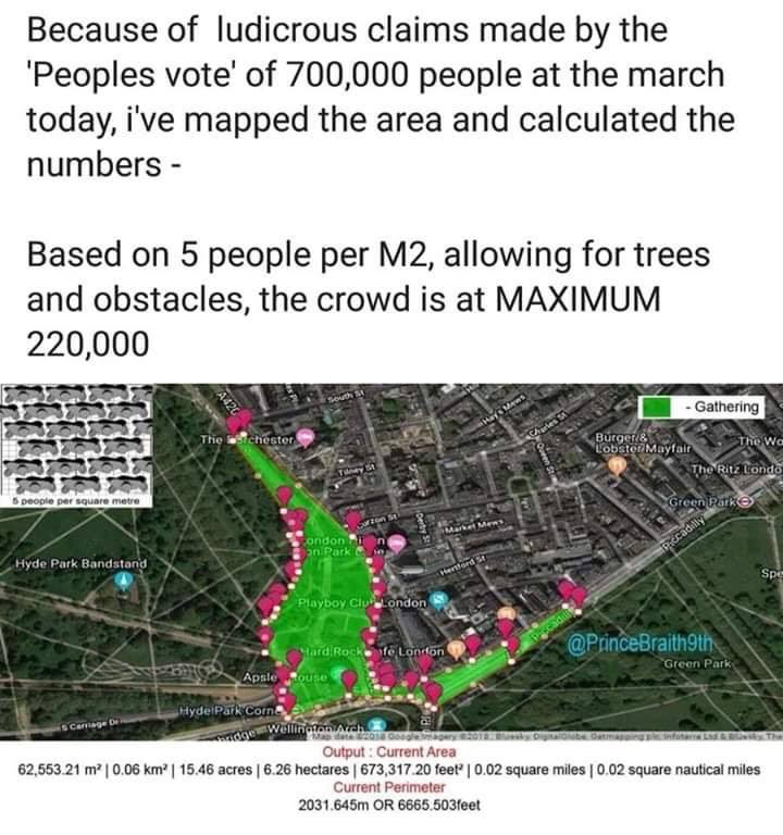 This green area is farcically wrong. The front of the march hit Parliament Sq at 2pm. At that time, I was still at Dorchester (see top of green area below), where we'd only moved about 100m since 12:00 - and with crowds going north of Dorchester as far as could be seen.
