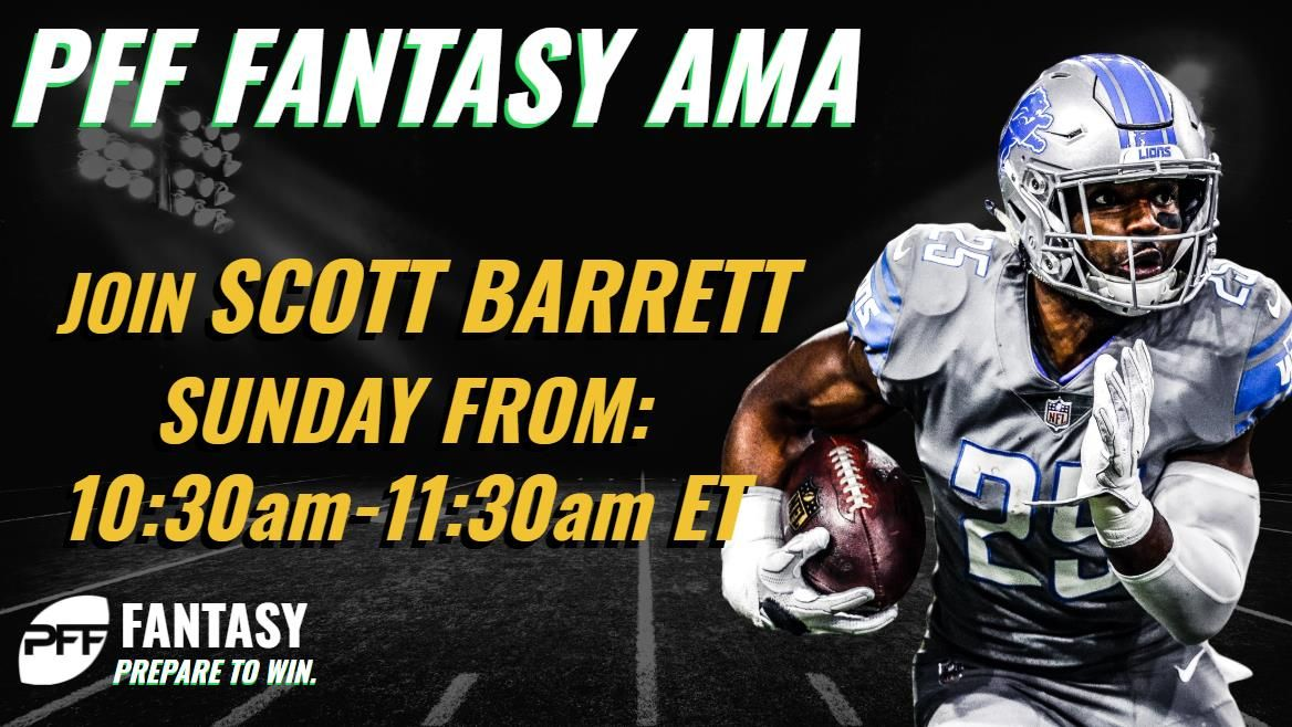 Fantasy players! @ScottBarrettDFBs weekly live chat starts a half-hour early today! Hell be chatting 10:30-11:30 a.m. ET today to help set lineups and get ready for everything in Week 7. Prepare to Win with @PFF_Fantasy pffoc.us/2ySLnGp
