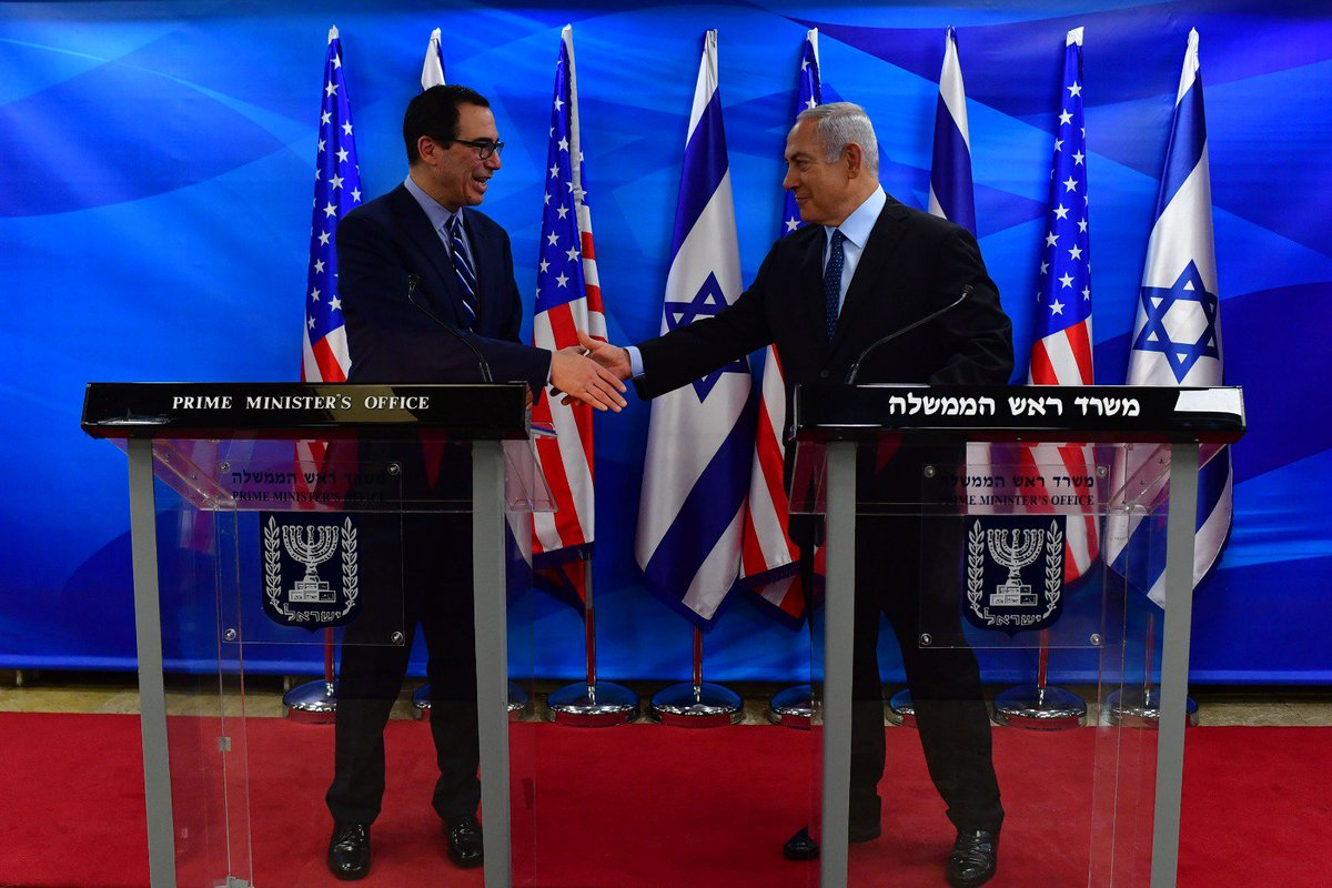 And in this regard, I want to thank you, Steve, for the work that you've been doing in the Treasury both to arrest Iranian aggression and also to advance the unbelievable partnership between Israel and the United States. So welcome once again to Jerusalem.
