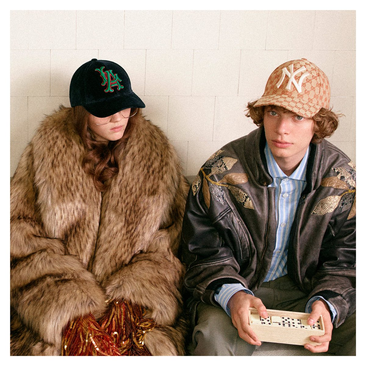 A mix of Major League Baseball teams decorate a lineup of baseball caps from #GucciFW18 by #AlessandroMichele. Discover more https://t.co/G44UkOGRaz. Gucci / MLBP