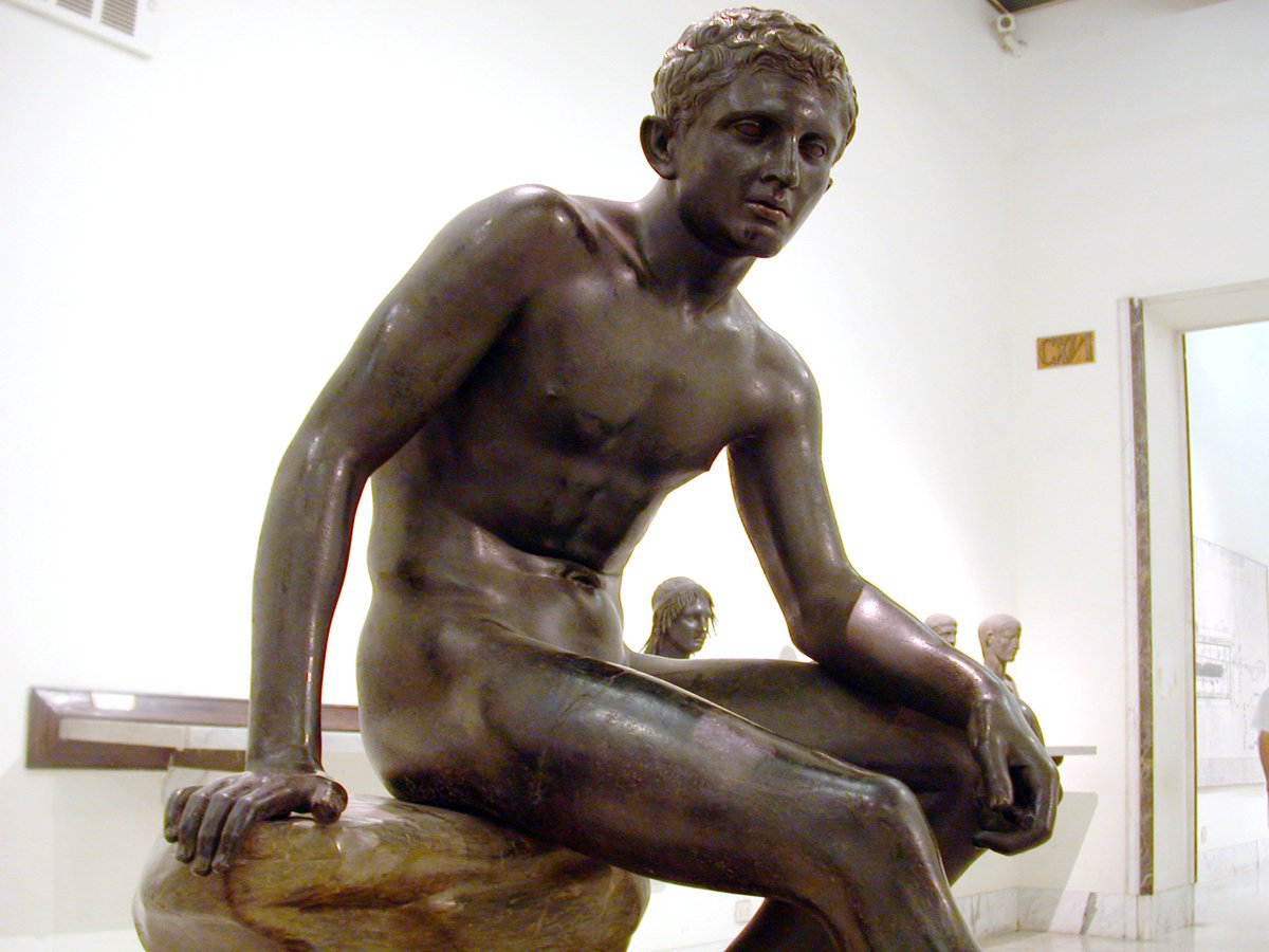 The bronze Seated Hermes, found at the Villa of the Papyri in Herculaneum in 1758, is at the National Archaeological Museum of Naples. Roman copy made before AD 79 of a Greek bronze original of the late fourth or early third century BC, in the tradition of Lysippos. #Hermes