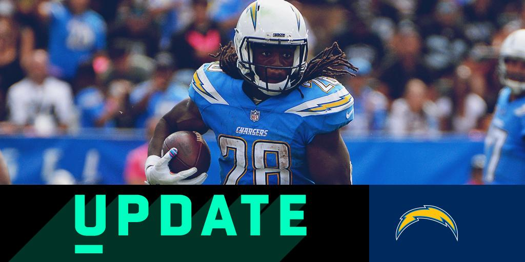 .@Chargers rule RB @Melvingordon25 (hamstring) out for #TENvsLAC: https://t.co/hfhsz0KE3c  ��: 9:30am ET on CBS https://t.co/bm63zGu3uZ