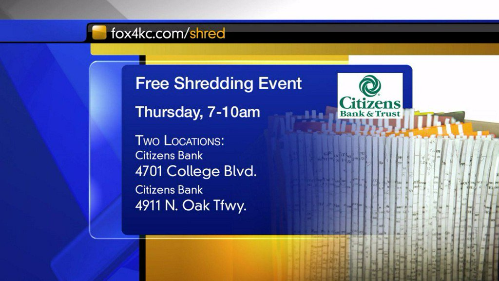 Shred your sensitive papers for free with help of FOX4, Citizens Bank https://t.co/rpPWGnP8el