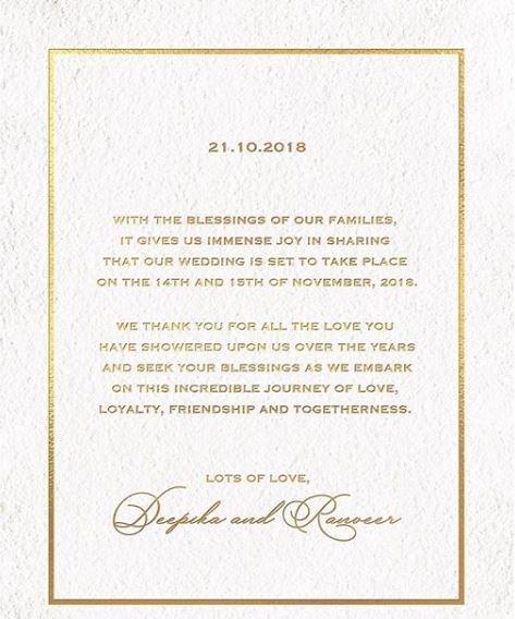 #BREAKING -- @deepikapadukone and @RanveerOfficial to get married on November 14th-15th.