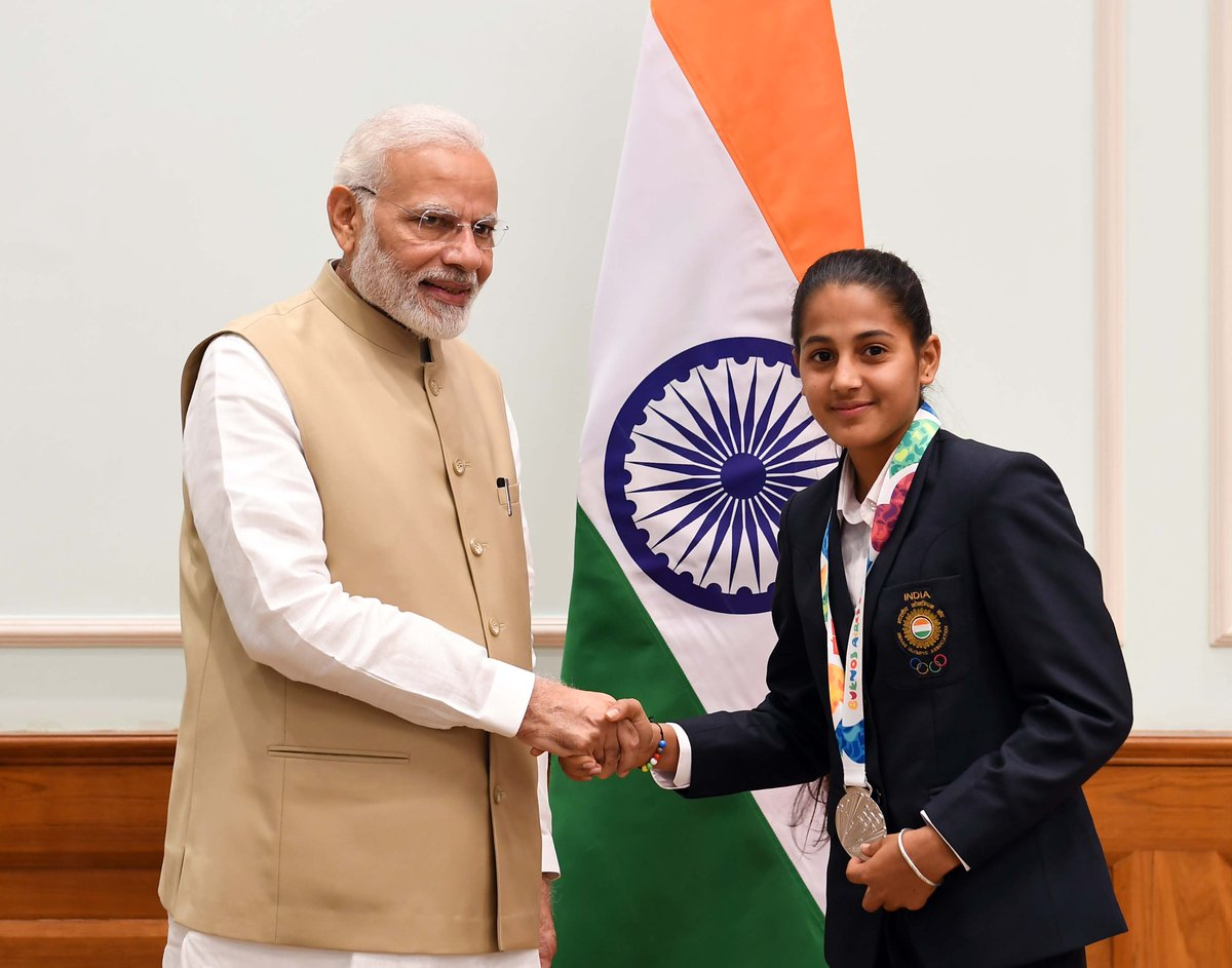 Baljeet Kaur is a forward in the Indian Junior Women's Hockey team.   Her game immensely helped the team, which brought home the Silver medal in the Youth Olympics 2018.   My wishes for a bright future, Baljeet.   This team has shown the power of the Indian youth.