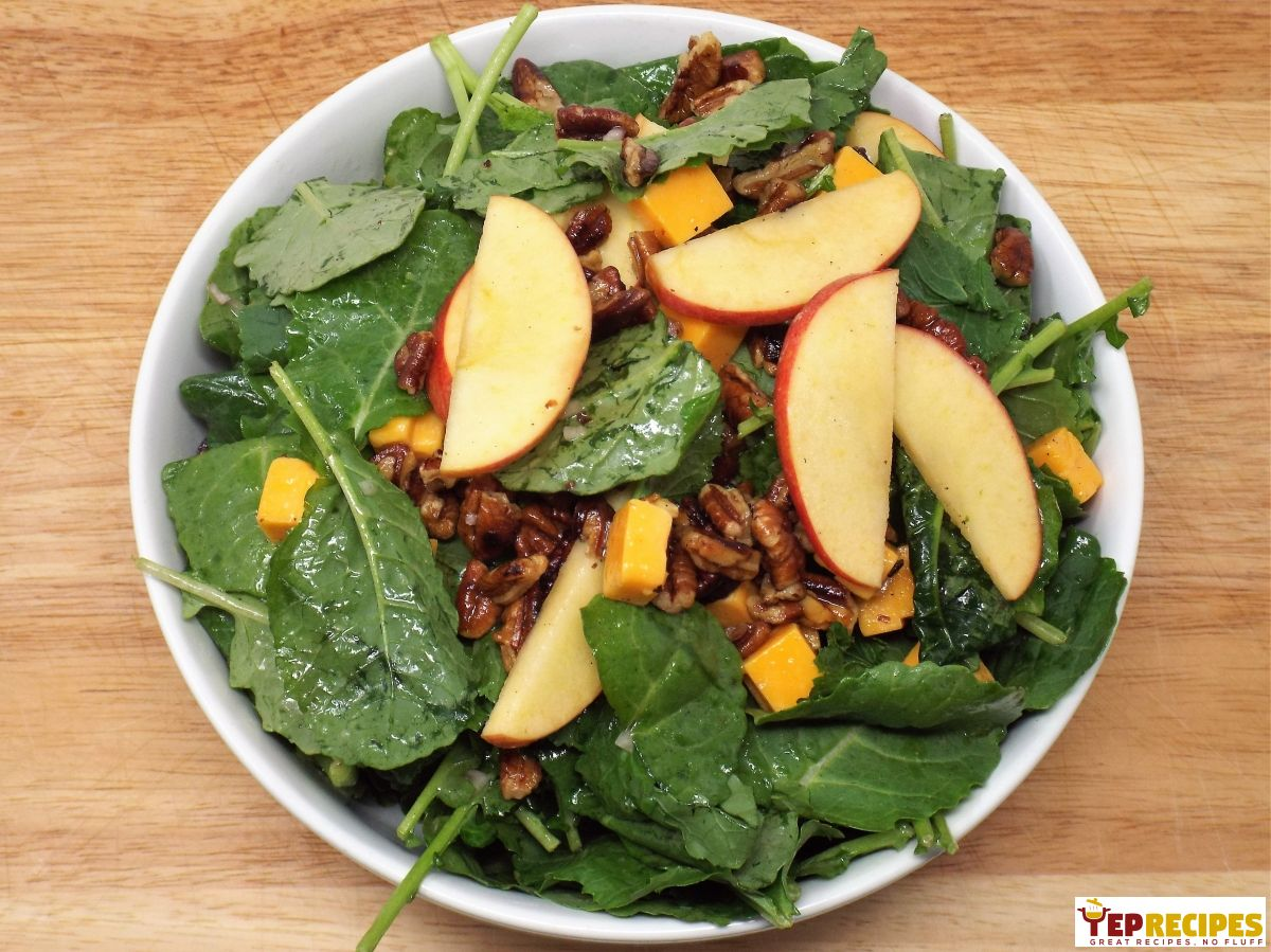 Kale Salad with Apples, Cheddar, and Pecans https://t.co/TzX7qQx3cZ https://t.co/cL8zG7zZAl