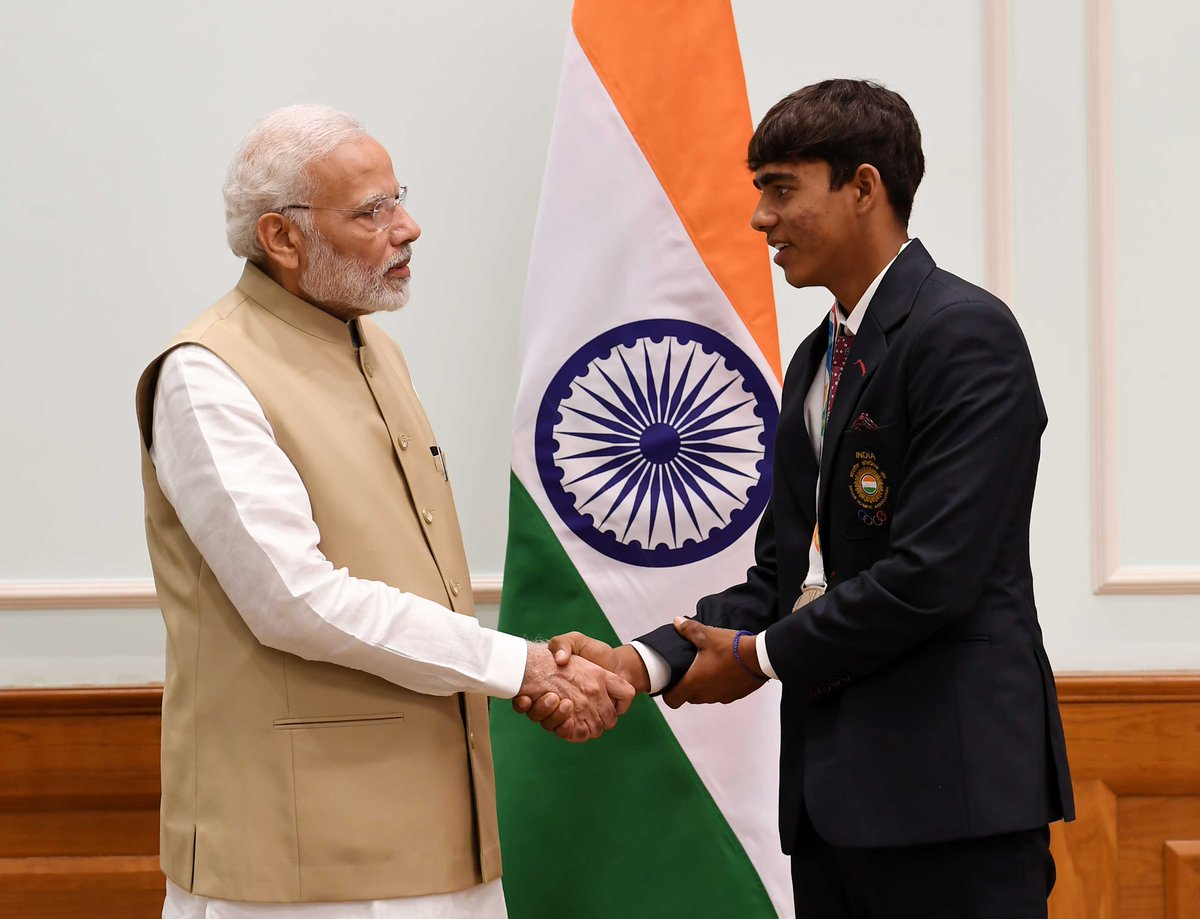It was a delight meeting Akash Malik, who won a Silver medal for India in Men's Recurve Individual Archery event at the 2018 Youth Olympic Games. His determination towards sports is praiseworthy. My best wishes for all his future endeavours.
