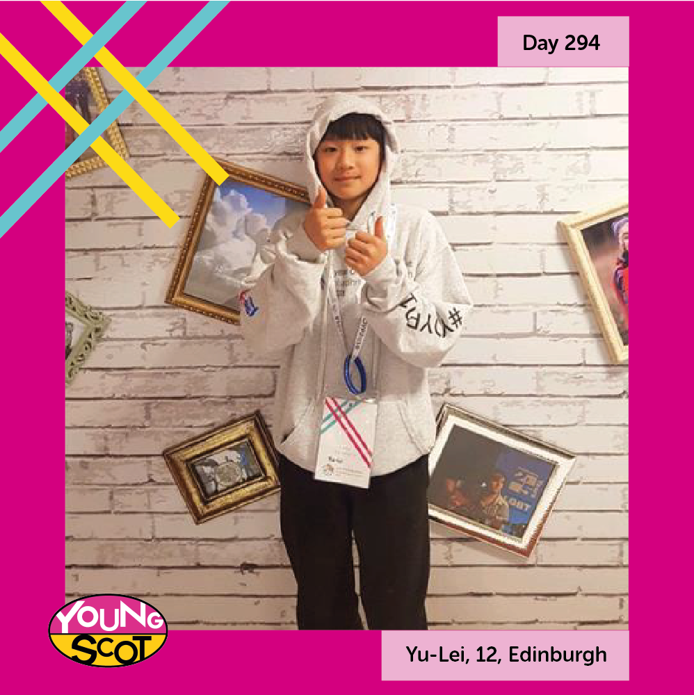 """#MyStory365 Day 294: Yu-Lei, 12, Edinburgh Live your life to the full and enjoy it, also contribute as much as you can because life is short."""" Read Yu-Lei's story and share your story at mystory365.scot! #YOYP2018"""