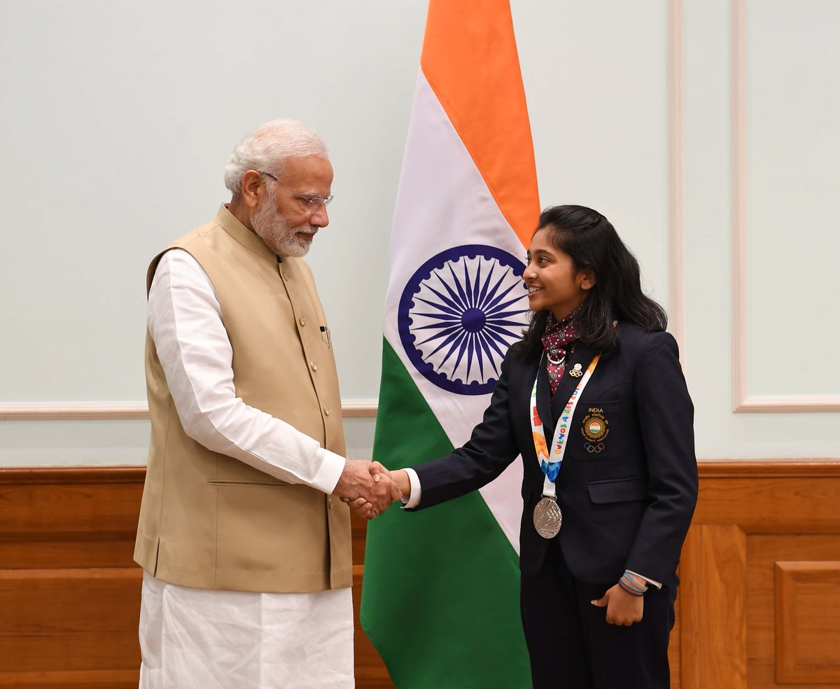 The talented Mehuli Ghosh is an inspiration for the younger generations. She has made the country proud by winning a Silver medal in the 10m Air Rifle Shooting category at the 2018 Youth Olympic Games. Many congratulations for her splendid performance. @GhoshMehuli