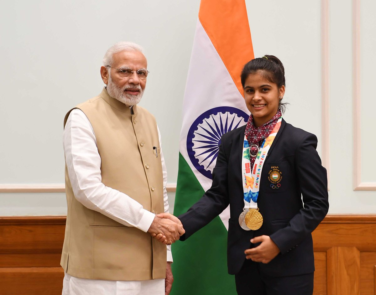 Manu Bhaker is India's pride! Strong and determined, she proved her mettle by clinching the Gold in 10m Air Pistol Shooting event at 2018 Youth Olympic Games. Many congratulations on her achievement and may she bring many more laurels for the country. @realmanubhaker