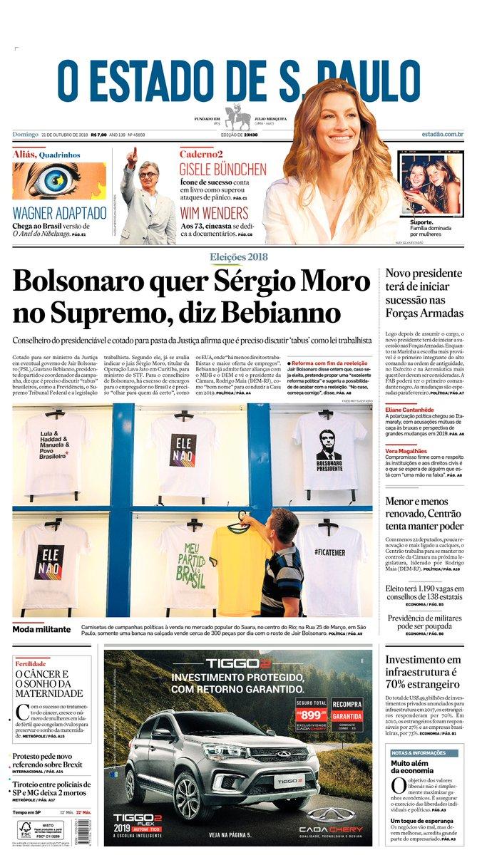 CAPA: Bolsonaro quer Sérgio Moro no Supremo, diz presidente do PSL https://t.co/LsmMfK1dT7