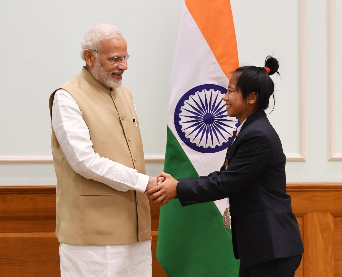 Tababi Devi Thangjam achieved a marvellous feat at the 2018 Youth Olympic Games. She won a Silver medal in Judo in the womens 44kg category. This medal is truly special in Indias Olympic history. It was great interacting with her today.
