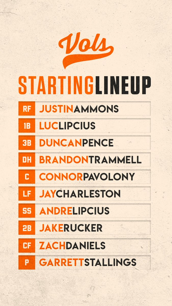 Alabama Starting Lineup >> Tennessee Baseball On Twitter Here S Your Tennessee Starting