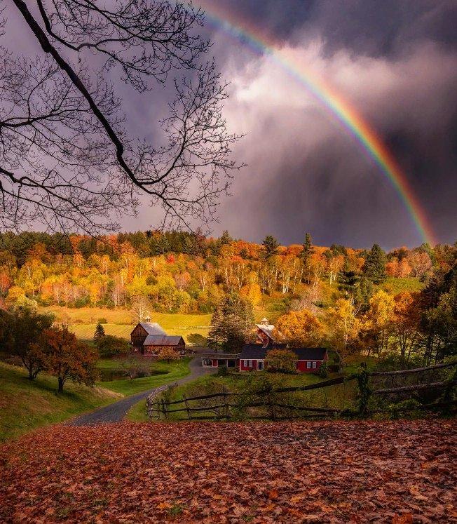 Красивые картинки радуга и осенний дождь
