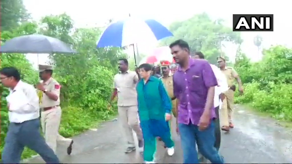 Puducherry: Lieutenant Guv Kiran Bedi today completed her 201th-weekend rounds as part of 'Mission Puducherry Water Rich'; inspected desilting of water channels in Bahour.