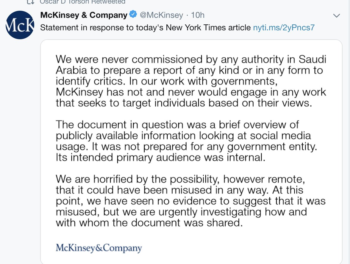 In other words, @McKinsey effectively DID help Saudi Arabia track dissidents.  Despicable.