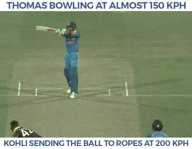 Thomas send the ball to Kohli at 150 km/h, he sends it to the boundary at 200 km/h. What a cracker of a contest! #INDvWI Photo