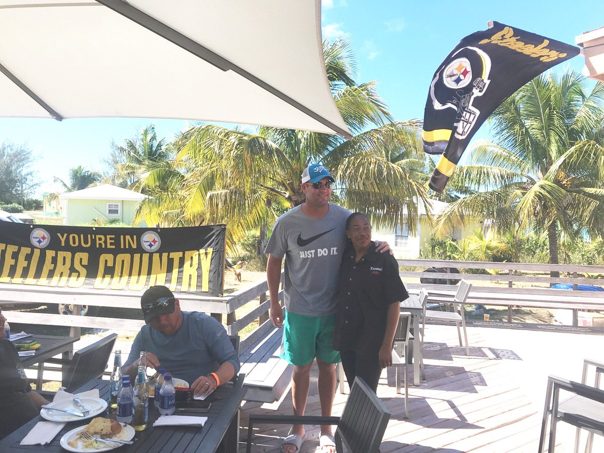 Another photo from Lorraines Cafe in the #Exumas. #SteelerNation is everywhere! @SteelersUnite