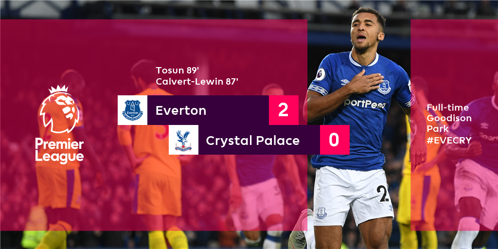 Everton step up in the final moments to make it three #PL wins in a row  #EVECRY https://t.co/I6Jfptn9Nc