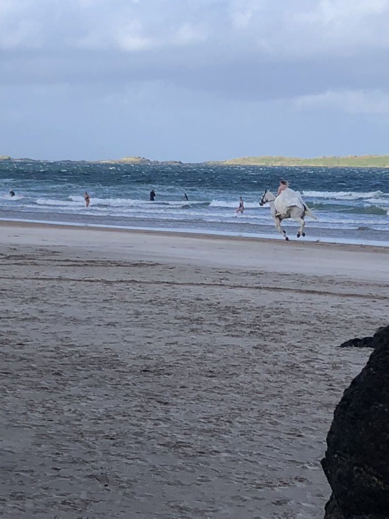 White horse, white rock beach, white clouds, white wedding #northcoastliving #Portrush