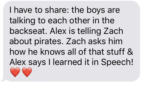 I got this message from a parent earlier this week. I love to hear that my students are retaining what we learn about and are able to have conversations about it a month later! #talklikeapirateday #makinganimpact #ilovemystudents #JourneytoAWE #lovewagspeech @bakerelembears