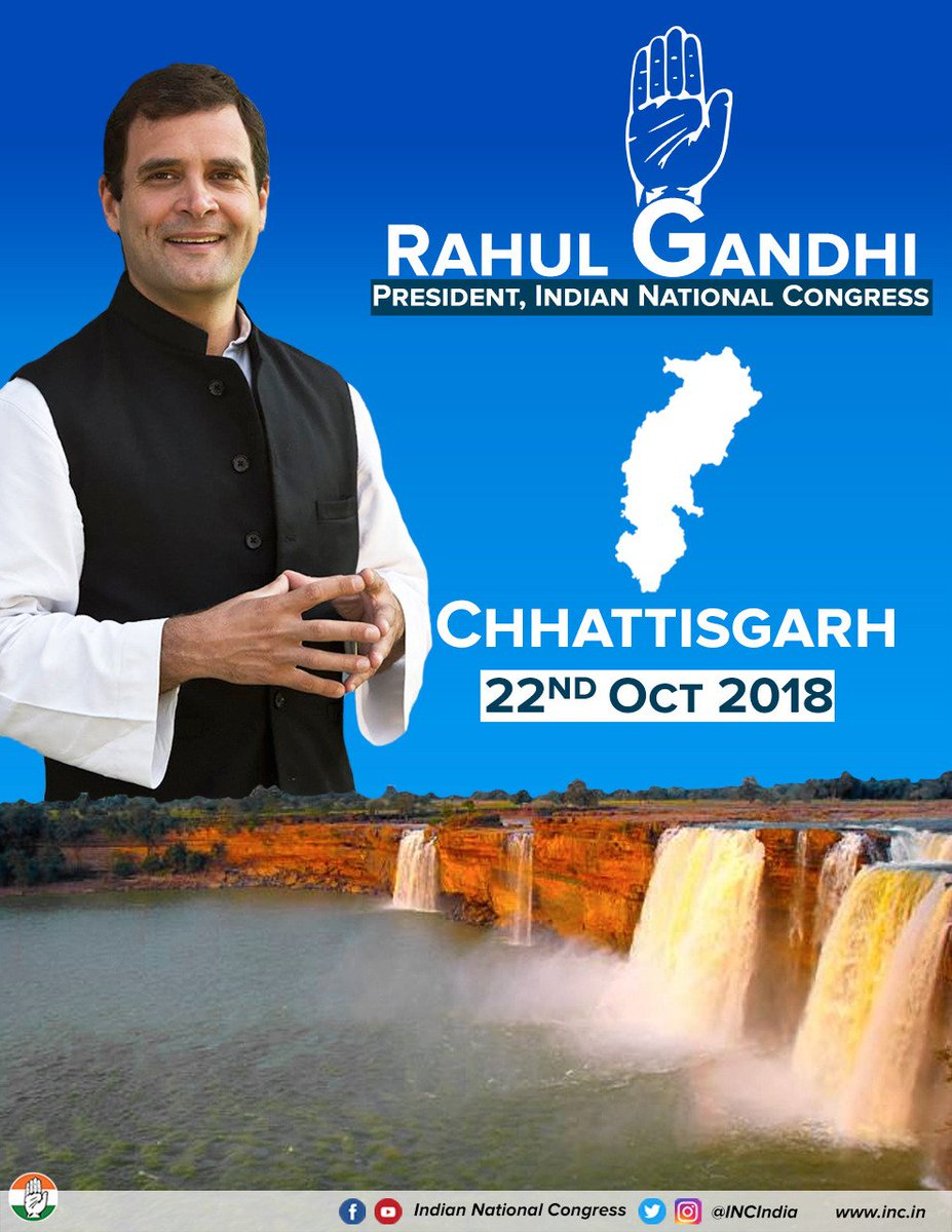 Congress President @RahulGandhi will be in Chhattisgarh tomorrow to hold public meetings & interact with the people.