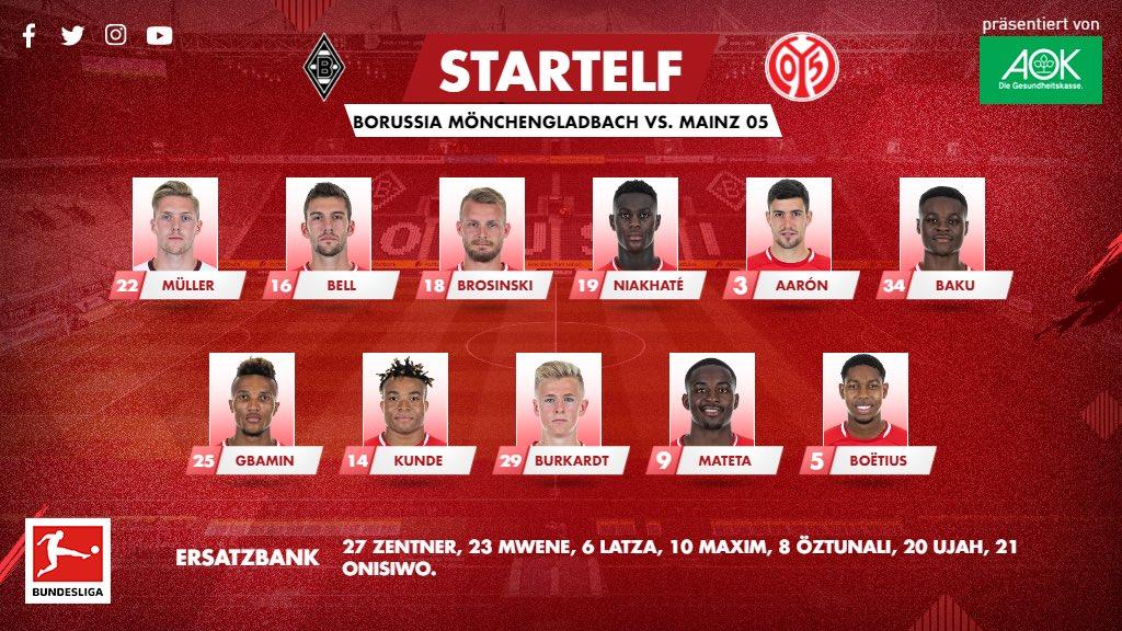 Mit diesem Team geht #Mainz05 in einer guten Stunde ins Spiel bei @Borussia! #BMGM05