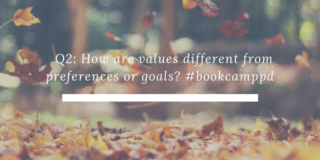 Q2. How are values different from preferences or goals? #BookCampPD