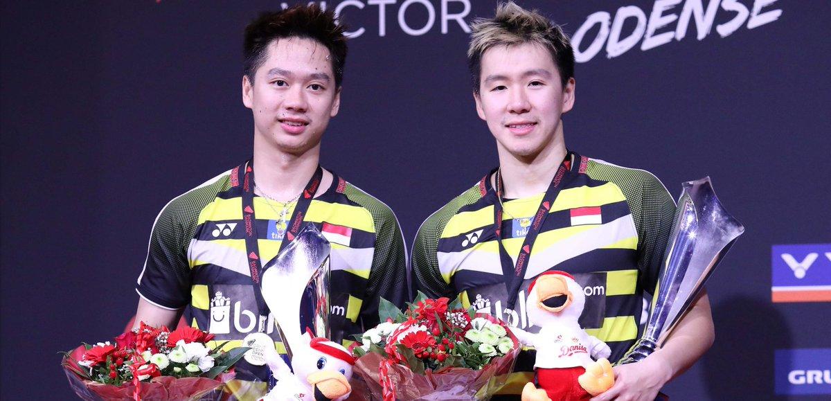 Marcus Fernaldi Gideon/Kevin Sanjaya Sukamuljo, juara Denmark Open 2018.
